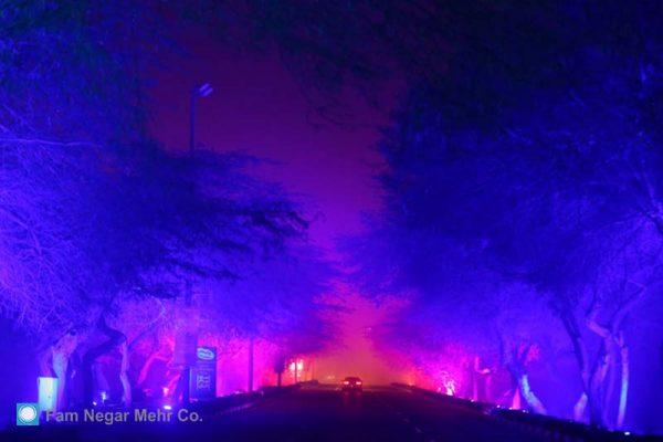 Lighting Of Kish Sanaei Street – Illuminated Tunnel